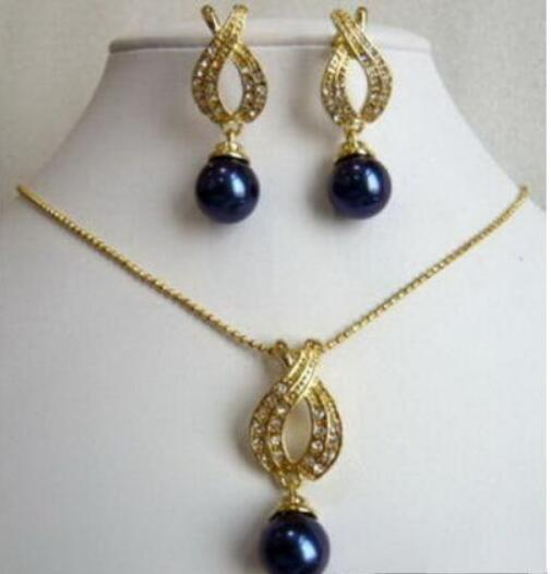 Jewelryr Pearl Set Black Shell Pearl 18KGP Crystal Pendant Necklace Earrings Set Free Shipping