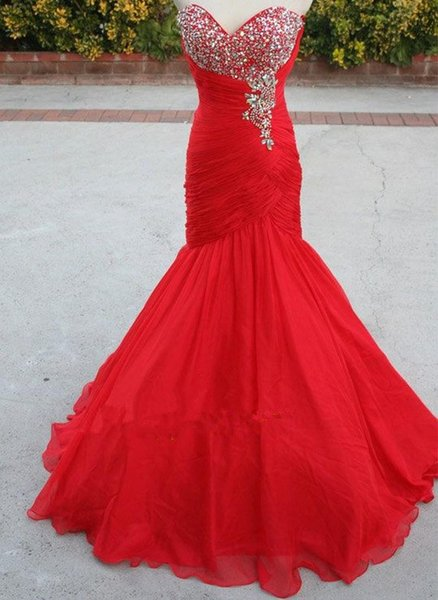 Red Mermaid Organza Pageant Evening Dresses Women's Beading Bridal Gown Special Occasion Prom Bridesmaid Party Dress 17LF338