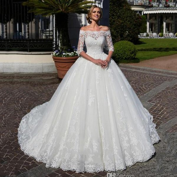 Discount White Lace Edge Mariage Wedding Dress Off Shoulder Half Sleeves Vestidos Bridal Maxi Ball Gown Custom Made Fashion Buttons Brides Ball Gown