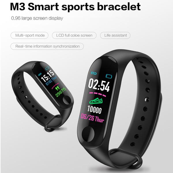 Renkli Ekran M3 Akıllı İzle Spor Spor Bilezik Erkekler Kadınlar Için Kan Basıncı Aktivite Izci saatler