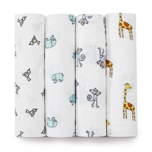 Swaddle blanket 100% cotton printed baby muslin organic white muslin cotton cloths