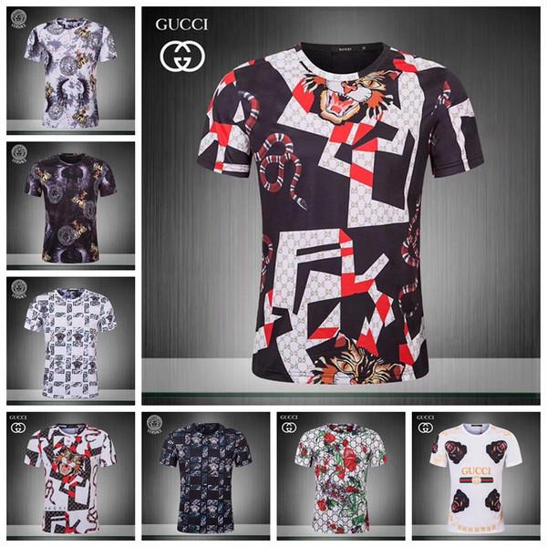 19ss Summer Street wear Fashion Italian 3 d printing Men High Quality with smooth silky cotton Tshirt Casual Women Tee T-shirt M-3XL JS12