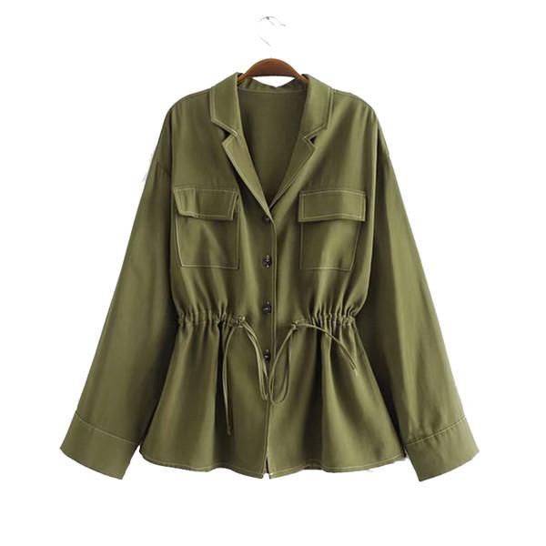 Großhandel Frühling Vintage Jacken Für Frauen Mantel Kordelzug Langarm Armee Grün Lässig Schicke Oberbekleidung Mantel Mode Damen Jacken Von
