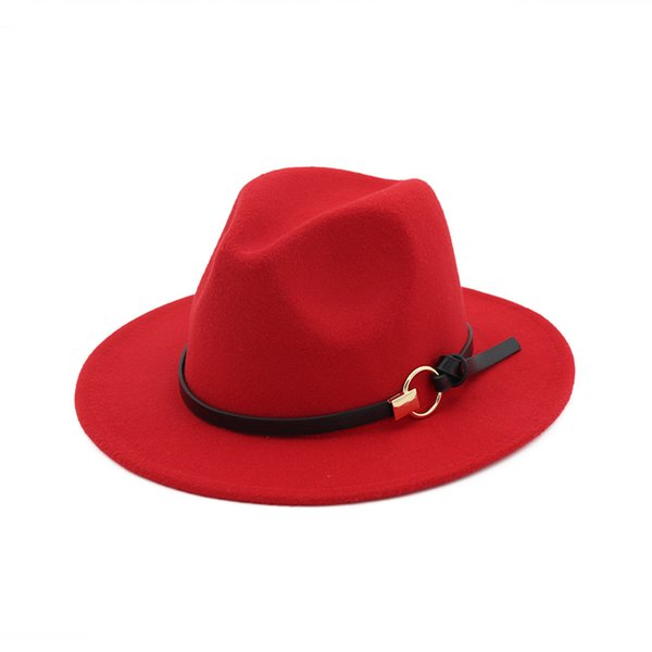 New Fashion Felt Jazz Hats for Men Women Elegant Band Wide Flat Brim Solid Felt Fedora Hat Stylish Trilby Panama Caps Cloches
