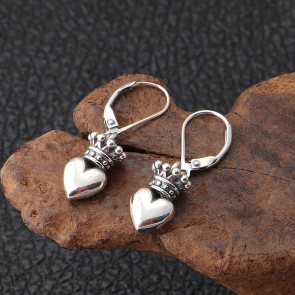 Luxury brand new 925 sterling silver jewelry American antique silver hand-made designer heart crown wings earrings gift for women