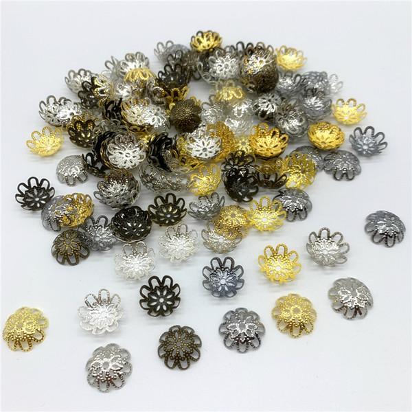 100 pz / lotto 15mm lega di figura del fiore borda i risultati dei monili di fascini i braccialetti della collana dei braccialetti del distanziatore per monili che fanno