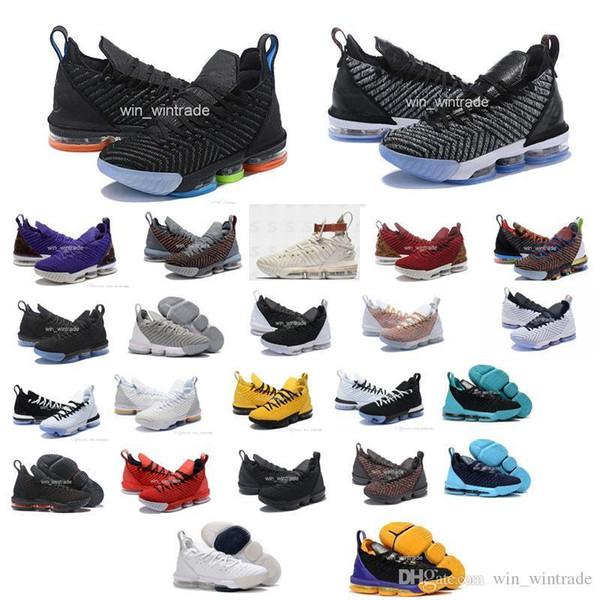 Zapatillas de baloncesto de igualdad para los hombres 16 zapatillas james ver el trono rey oreo new-lebron 16 igualdad szie 40-46