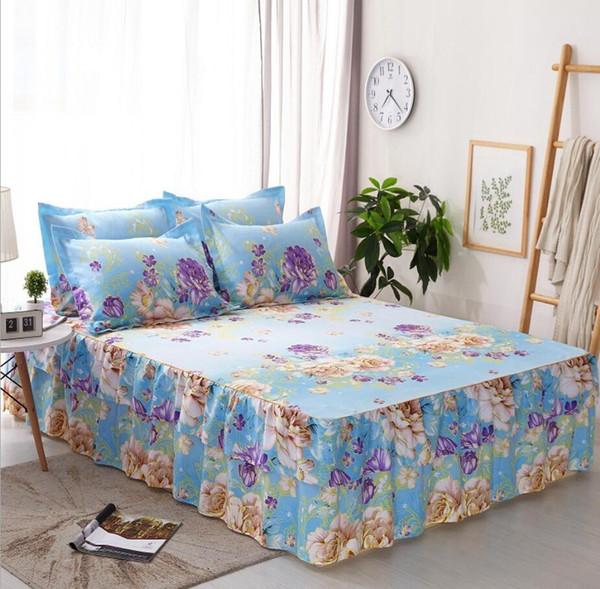 Mattress Cover Pastoral Bed Skirt Pillowcases Princess Ruffle Bedding Fitted Sheet Flower Bedspread Bed Sheet