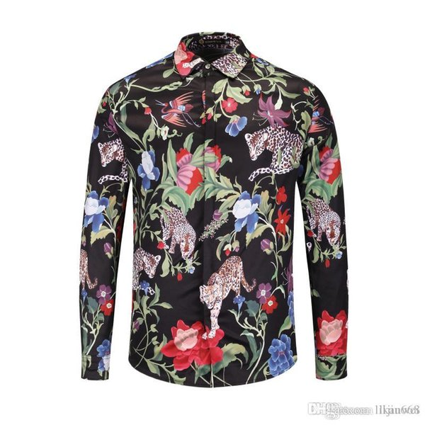 Neueste Beiläufige Baumwollhemden Medusa 2019 Herbst Mann Leopard blumenmuster Gedruckt hemd Mode blumen Männer langarmshirts tops