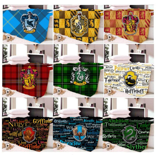 Harry Potter School Crest Blanket Winter Dual Layers Fleece Blankets Gryffindor Hufflepuff Slytherin Ravenclaw Cosplay Cape for kids Quilt