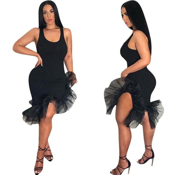 Summer High Low Vintage Retro Dress Womens Sleeveless irregular Organza Dress Ladies Elegant Party dress NB-1017