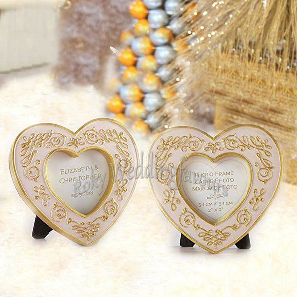 50pcs Gold Heart Mini Frame Wedding Favors Partytable Decor Place Card Holder Anniversary Gifts Birthday Favors Event Giveaways