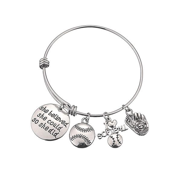 Baseball Bracelet Lettres Elle croyait pouvoir Bracelets En Acier Inoxydable Pendentif Softball Charme Bracelets Accessoires De Mode GGA2005