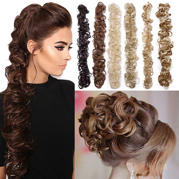 Women Horsetail Long Hairpieces Ponytail Hair Piece Wrap-around HairRing Bride Hair Wavy Curly Hair Extension