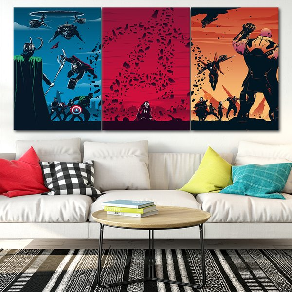 Marvel Avengers Canvas Posters Home Decor Wall Art Framework 3 Pcs Paintings Style2 For Living Room HD Prints Moive Pictures