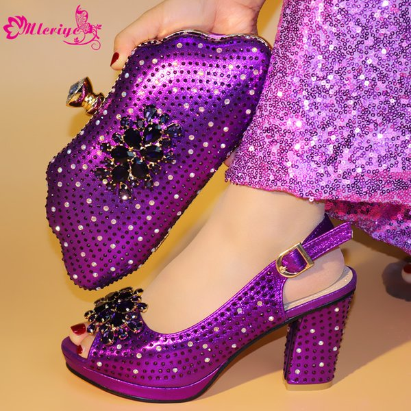 51-3 PURPLE African Matching Shoes and Bags Italian In Women Italian Shoe and Bag Set for Party In Women High Heel Shoes Luxury Women Shoes