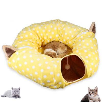 New pet supplies cat ring paper two-way tunnel cat litter can accommodate folding channel Zhiyi cat toy drill bucket