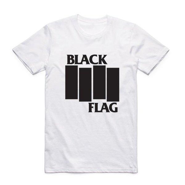 Moda Erkekler Kısa Kollu O-Boyun Ile Yaz Siyah Bayrak T-shirt Yaz Band Casual En Tee Tshirt