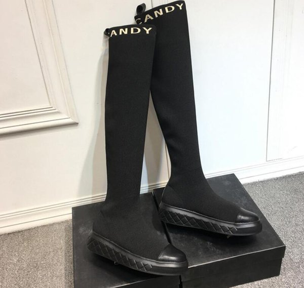 2019 spring autumn womens black real leather with Stretch knit Fabric Thigh-High over the knee booties pull on Motorcycle tall boots