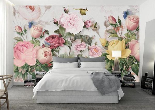Papel De Pared Para Cuarto Mural Creativo 3D Papel de pared Murales Papel de contacto Dormitorio Papeles fotográficos Foto Rose Flower Wallpaper