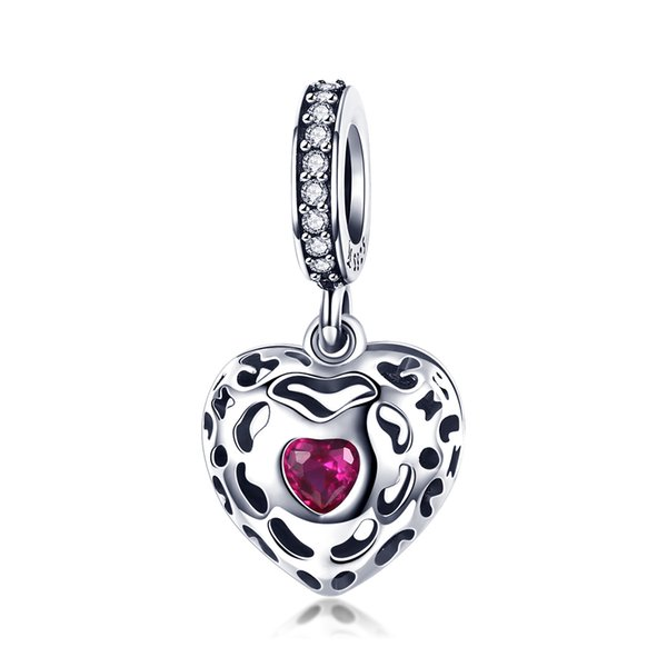 Valentines Day Gift 925 Sterling Silver Heart Shaped Love Dangle Pendant Charm Bead for Girlfriend Women fit Pandora Bracelet