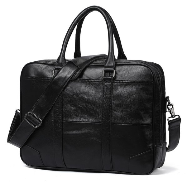 New Promotion Simple Brand Design Business Men Briefcase Bag Genuine Cow Leather Laptop Bag Men Shoulder bolsa maleta #159594
