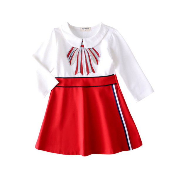2019 spring foreign trade European and American colleges British style girls dress female baby color matching long-sleeved autumn princess d