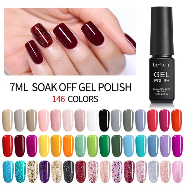 LILYCUTE 7ML UV Gel Varnish Nail Polish Set For Manicure Gellak Semi ...