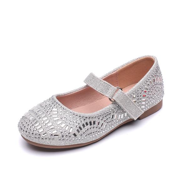 Chaussures en cuir pour enfants 2019 New Flat Flat Soft Rhinestone confortable Princesse Filles Robe de mariage Chaussures Enfants Unique