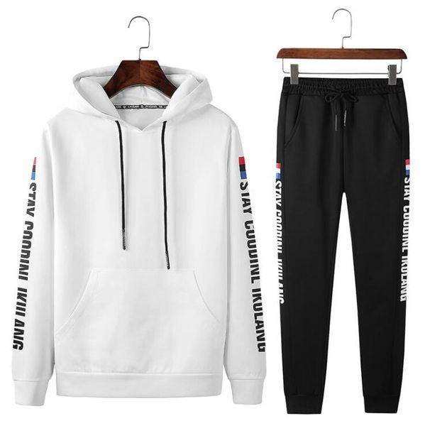 Diseñador de moda Chándales para hombres Trajes de sudor Otoño Para hombre Trajes deportivos Casual Tops Pantalones de Capris Conjuntos de Hip Hop Ropa 2 colores M-4XL