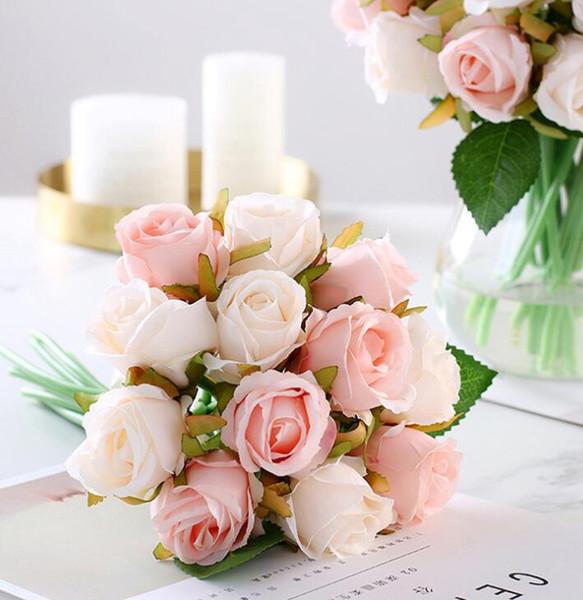 Fleurs roses 12 pièces Bouquets de mariage pour la mariée centre de table de mariage Fleurs artificielles Soie Rosefloyd bouquet de mariée rose