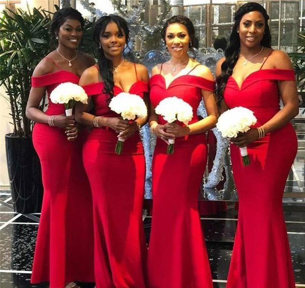 Modest Red Bridesmaid Dresses 2019 Mermaid Off Shoulder Summer Country Garden Formal Wedding Party Guest Maid of Honor Gowns Plus Size