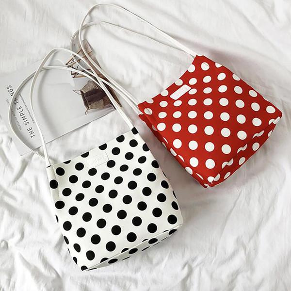 2019 Ladies Handbags Cloth Canvas Tote Bag Crossbody Mini Messenger Bag White Wave Point Fashion Women's Shoulder Bags