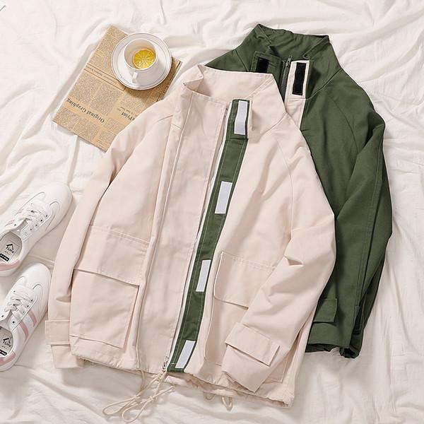 Harajuku сафари Стиль пальто женщин осень с длинным рукавом Стенд воротник молния Зеленый Повседневная куртка женщин корейской Кардиган Outwear