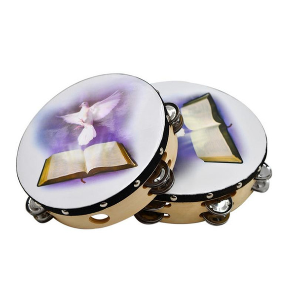 top popular 10 Inch Musical Tambourine Reflective Percussion Wooden Frame Double Row Metal Jingle Church Band Musical Instruments Gifts 2020