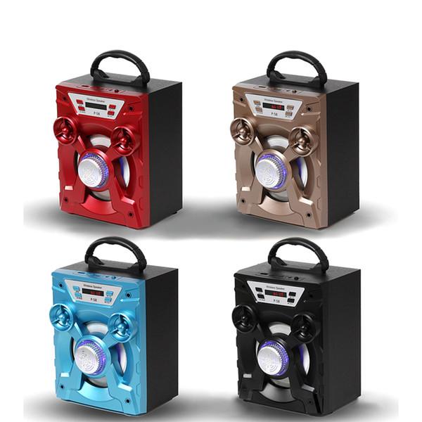 Yüksek kaliteli Büyük Ses HiFi Hoparlör Taşınabilir Bluetooth AUX Hoparlörler Bas USB Subwoofer Açık Müzik Kutusu Ile USB LED Işık TF FM Radyo