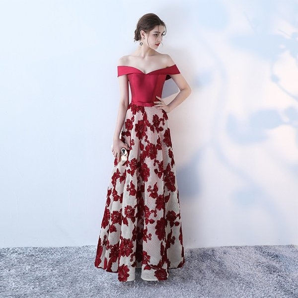 Printed Off Shoulder Evening Dresses Long Formal Dress 2019 Red Floor Length Prom Gowns Vestido De Noche Prom Cocktail Party Dresses