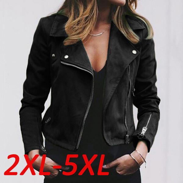 Women fashion Faux Leather Jacket Zip Up Biker Flight Casual Top Coat Outwear
