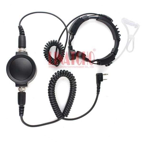 2 pins Two way radio heavy duty big PTT walkie talkie earphone with throat mic for WOUXUN TYT BAOFENG