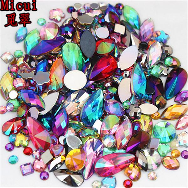 best selling 18g About 300pcs Mixed Shape Sizes AB Acrylic Rhinestones 3D Nail Art Rhinestones Non Hotfix Flatback Stones Decorations ZZ4000