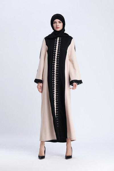 Le donne del progettista vestono il lussuoso marchio musulmano nuovo di zecca musulmano gonna lunga cuciture abito di pizzo designer abito da donna in stile nazionale