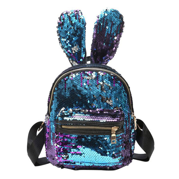 Rabbit Ear Fashion Women PU Glitter Small Backpack Lady Girls Portable Travel Sequin Zipper Shoulder Bag