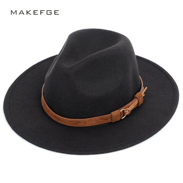 Cinturón de moda Color Sólido Fedoras Tamaño Grande Otoño Invierno Sombrero  de copa de los hombres 79bde7f345a