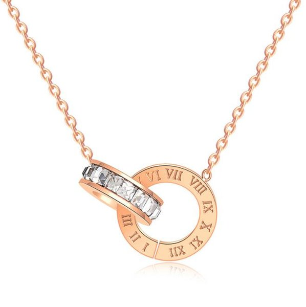 High Polishing Women Fashion Stainless Steel Cubic Roman Numberals Double Circle Pendant Necklace 18K Rose Gold 316L Lady Necklace Jewelry