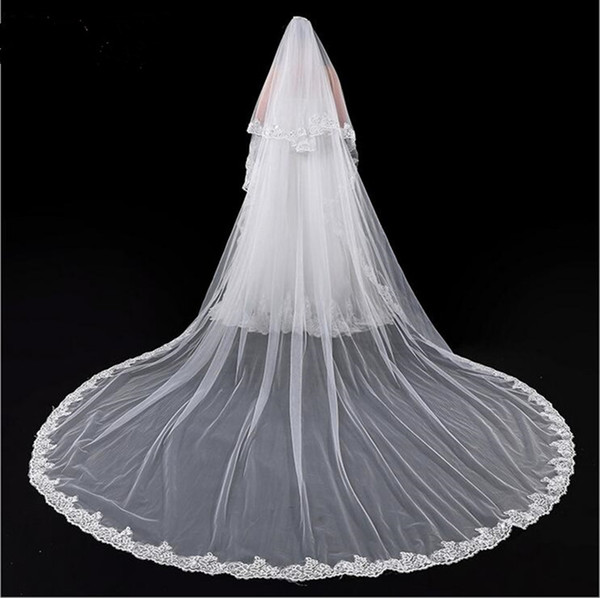 Two Layers Lace Edge Wedding Veils Face Cover Church Bridal Veil With Comb Wedding Veil Women Wedding Special Occasion Accessories