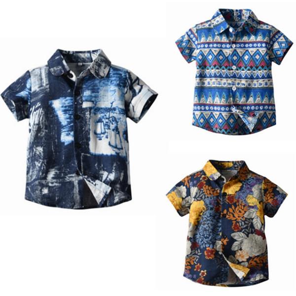 Enfants Stylistes garçons à manches courtes Chemises Holiday Boy Shirt Enfants Casual Hauts Summer Beach Vêtements enfants 3 Designs DHW4013