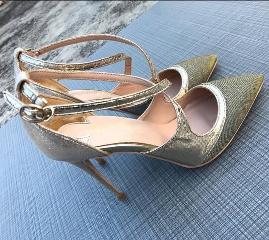 2019 New Drawn Glitter High-heeled Pumps Shoes Red Bottom Shallow High Heels Sequin Cloth Cross-strap Women Dress Shoes Party Wedding Shoes