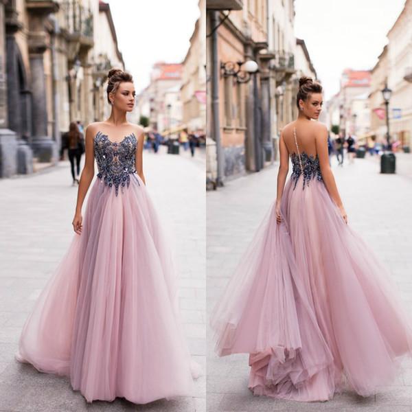 2020 Berta Prom Dresses Sheer Jewel Neck A Line Beaded Fairy Evening Dress Party Wear Custom Made Formal Gowns Vestidos De Novia