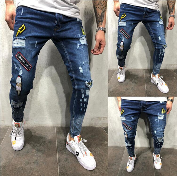 2019 New Mens Jean Pantalones Street Black Holes Designer White Stripes Jeans Hiphop Skateboard Pencil Pants