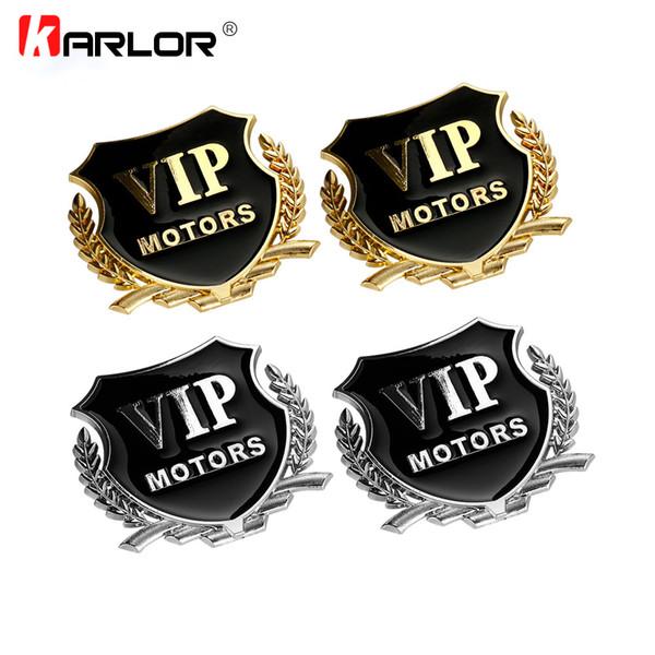 emblem badge 2pcs/set VIP MOTORS 3D Metal Car Chrome Emblem Badge Decal Door Window Body Auto Decor DIY Sticker Car Styling Accessories